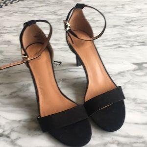 Black suede ankle strap heels 8